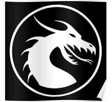 DRAGON, HEAD, CIRCLE, SYMBOL, LOGO, WHITE Poster