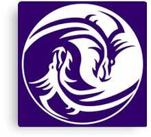 Yin Yang, Dragon, Doctormo, Dring, Drang, Eastern, WHITE on Deep Purple Canvas Print
