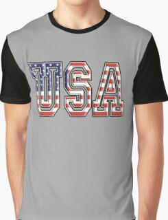 USA, Stars and Stripes, United States of America, Flag, Patriot, America, American, US, on BLACK Graphic T-Shirt