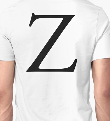 Z, Zee, Zed, Alphabet Letter, Zulu, Zero, Zoro, A to Z, 26th Letter of Alphabet, Initial, Name, Letters, Tag, Nick Name Unisex T-Shirt