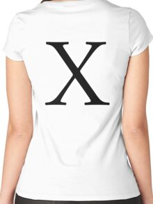 X, ex, Alphabet Letter, X ray, A to Z, 24th Letter of Alphabet, Initial, Name, Letters, Tag, Nick Name Women's Fitted Scoop T-Shirt