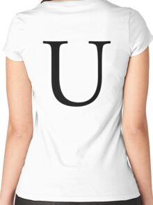 U, Alphabet Letter, Uniform, Union, A to Z, 21st Letter of Alphabet, Initial, Name, Letters, Tag, Nick Name Women's Fitted Scoop T-Shirt