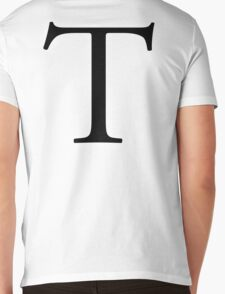 T, tee, Alphabet Letter, Tango, Thomas, A to Z, 20th Letter of Alphabet, Initial, Name, Letters, Tag, Nick Name Mens V-Neck T-Shirt