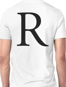 R, Alphabet Letter, Romeo, Roger, A to Z, 18th Letter of Alphabet, Initial, Name, Letters, Tag, Nick Name Unisex T-Shirt
