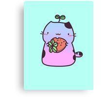 Kawaii cat holding strawberry - blue & pink Canvas Print