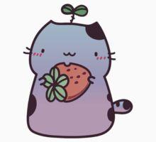 Kawaii cat holding strawberry - blue & pink One Piece - Long Sleeve