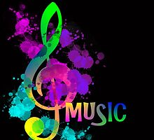 Artistic Colorful Rainbow Music Themed Design by Artification