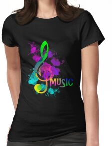 Artistic Colorful Rainbow Music Themed Design Womens Fitted T-Shirt