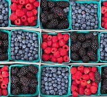 Strawberries Blueberries Blackberries by ezumeimages