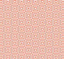 Coral White Geometric Squares by dreamingmind