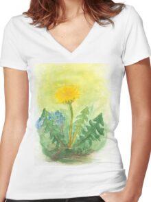 Dandelion In The Garden Women's Fitted V-Neck T-Shirt
