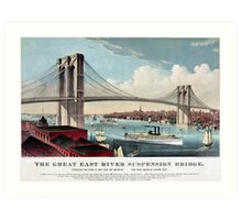 Antique New York Brooklyn Great East River Suspension Bridge Art Print