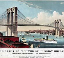 Antique New York Brooklyn Great East River Suspension Bridge by aapshop