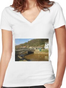 Stone Bridge Over East Row Beck, Sansend Women's Fitted V-Neck T-Shirt