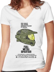 Full Metal Spartan Women's Fitted V-Neck T-Shirt