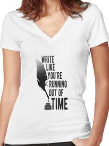 WRITE LIKE YOU'RE RUNNING OUT OF TIME - HAMILTON Women's Fitted V-Neck T-Shirt