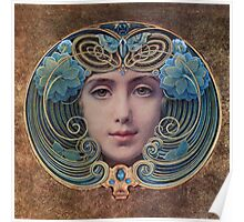 Graceful Vintage French Art Nouveau woman Poster
