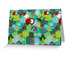 Bee and apple Greeting Card