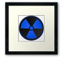 Blue Radioactive Fallout Symbol - Geek Epic Gamer Nerd Boy Framed Print