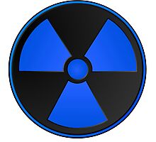 Blue Radioactive Fallout Symbol - Geek Epic Gamer Nerd Boy Photographic Print