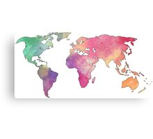 rainbow watercolor continents Canvas Print