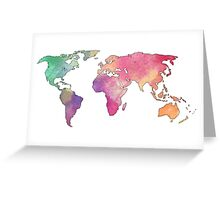 rainbow watercolor continents Greeting Card