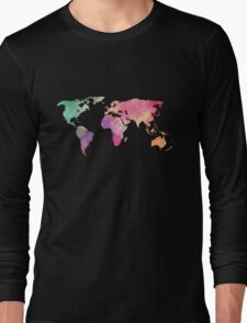 rainbow watercolor continents Long Sleeve T-Shirt