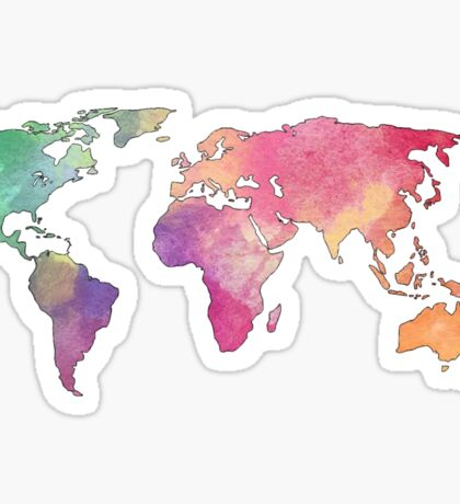 rainbow watercolor continents Sticker
