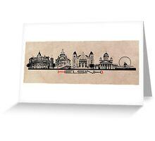 Helsinki skyline black Greeting Card