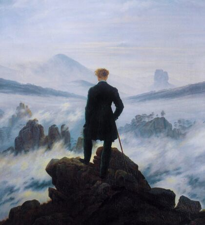 Man in a sea of fog Antique German painting Sticker
