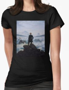 Man in a sea of fog Antique German painting Womens Fitted T-Shirt