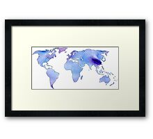 watercolor continents Framed Print