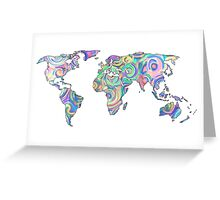 swirly design continents Greeting Card