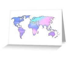 watercolor sky continents Greeting Card