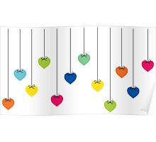 colorful heart background Poster