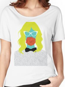woman with rose Women's Relaxed Fit T-Shirt