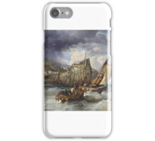 James Webb (London )  Fishing boats in a heavy swell off a jetty iPhone Case/Skin
