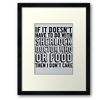 Sherlock Doctor Who and Food Framed Print