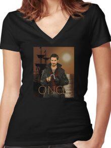 """Captain Hook Comic Poster """"Sunset"""" Women's Fitted V-Neck T-Shirt"""