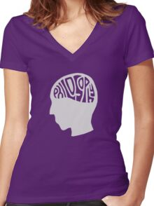 This is Your Brain on Thinking (Color: Intellectual Grey) Women's Fitted V-Neck T-Shirt
