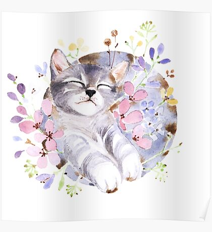 Sleeping Cat in the Flower Poster