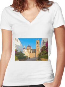 """Church of La Mare de Déu del Consol (""""Our Lady of Solace"""") in Altea  Women's Fitted V-Neck T-Shirt"""