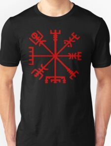 Blood Red Vegvísir (Viking Compass) Unisex T-Shirt