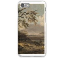 Jan Wijnants, DUNE LANDSCAPE WITH HUNTERS IN THE FOREGROUND, A LAKE AND MOUNTAINS BEYOND iPhone Case/Skin