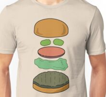 """Deconstructed Burg"" Deconstructed Burger Hamburger Lettuce Tomatoes Foodie Food Humor Silly Funny Pickles Bun Unisex T-Shirt"