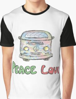 Colorful hippie car, peace and love words Graphic T-Shirt