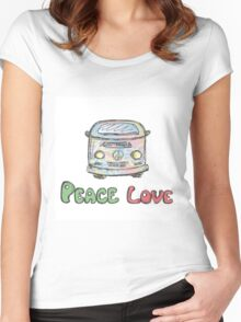 Colorful hippie car, peace and love words Women's Fitted Scoop T-Shirt