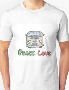Colorful hippie car, peace and love words T-Shirt