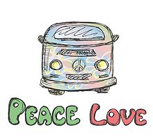 Colorful hippie car, peace and love words by naum100