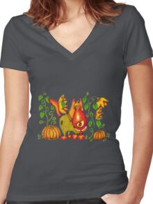 Sweet Pumpkin Women's Fitted V-Neck T-Shirt